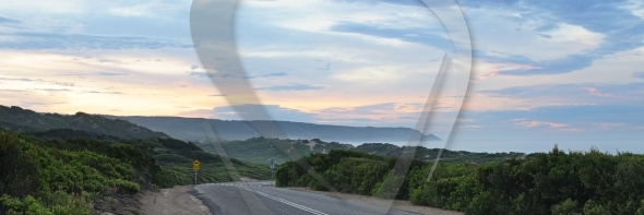 Cloudy sunrise panorama