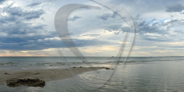 Sandcastle in sunset