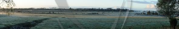 Sunrise in fog panorama
