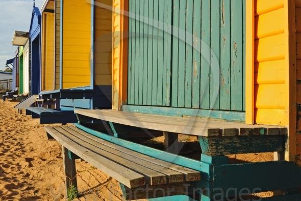 Colorful swim cabins