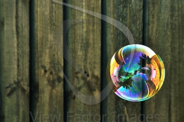 Bubble and  wood in background