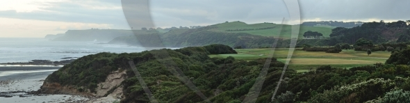 Golf course and ocean