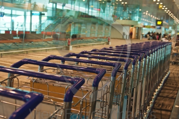 Trolleys in airport