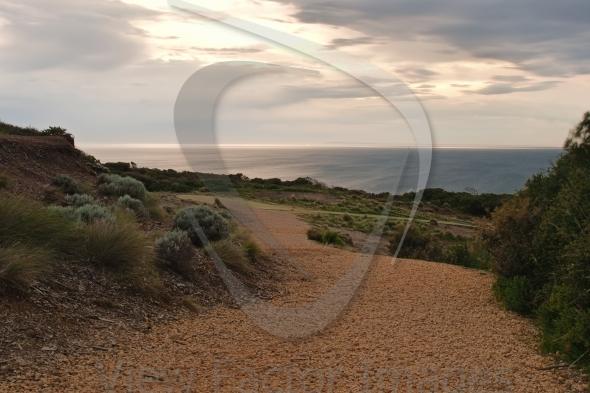 Pebble Footpath in sunrise