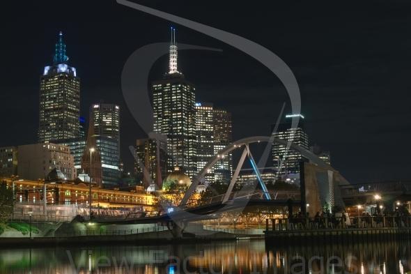 Melbourne CBD and footbridge