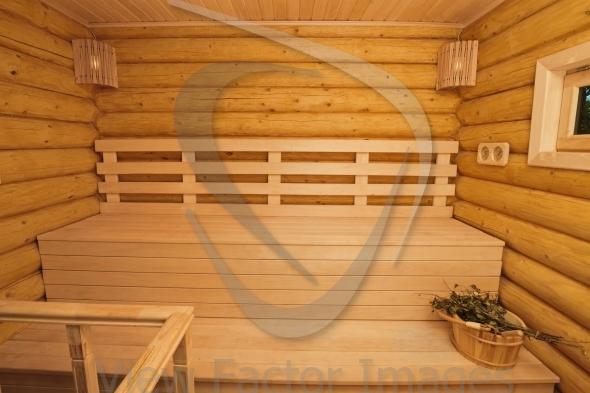 Log sauna inside