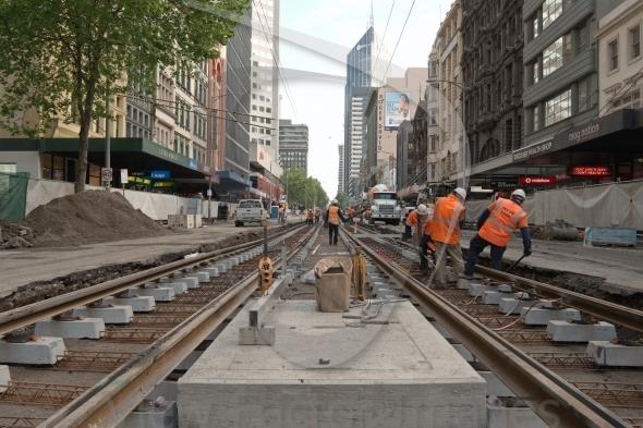 Melbourne tram works