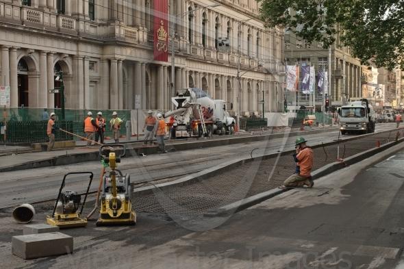 Tram track works