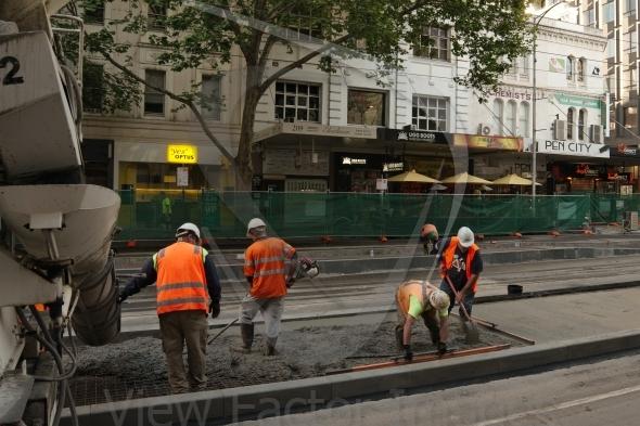 Concreting  tram platform