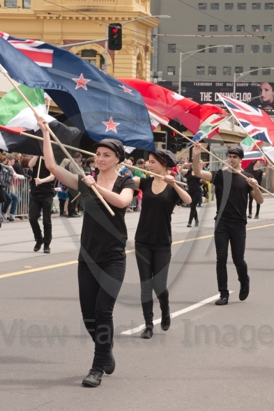 Flag carriers on parade