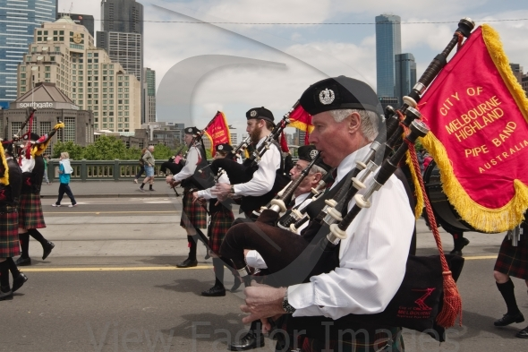 Bagpipers at parade in Melbourne