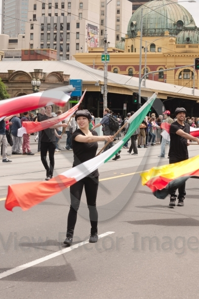 Waving flags on parade