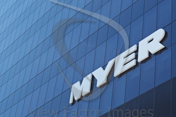 Myer logo on wall