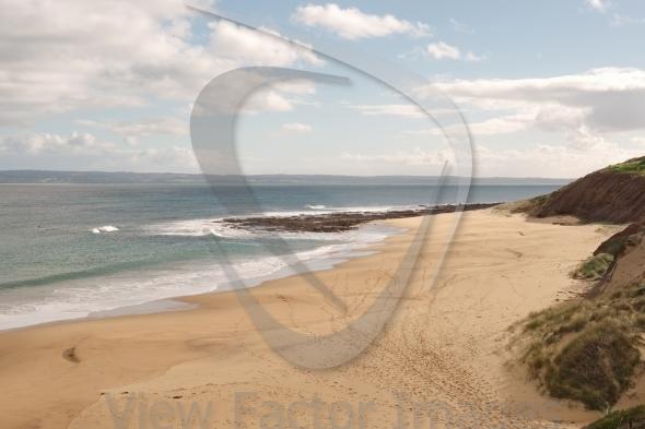 Footprints at surfing beach
