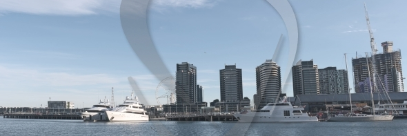 Docklands panorama with yachts