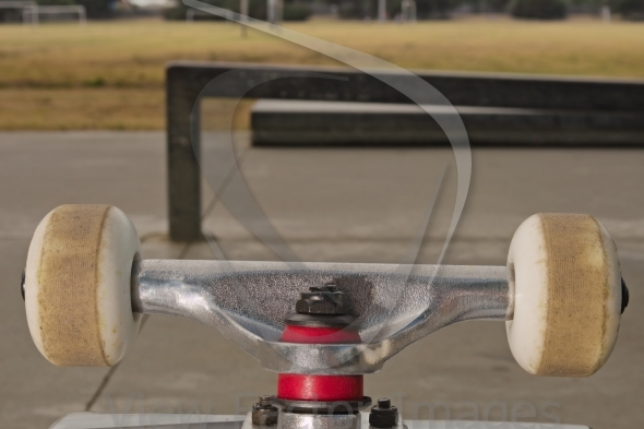 Closeup to skateboard truck