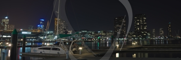 Pier in Docklands at night