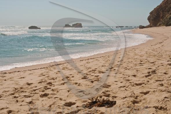 Sandy beach with glare