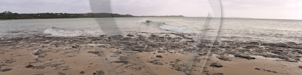 Panorama with breaking wave
