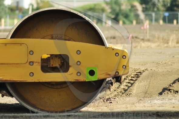 Road roller close-up
