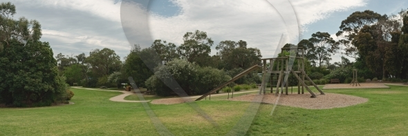 Playground in park panorama