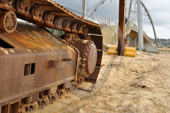 Excavator track close-up