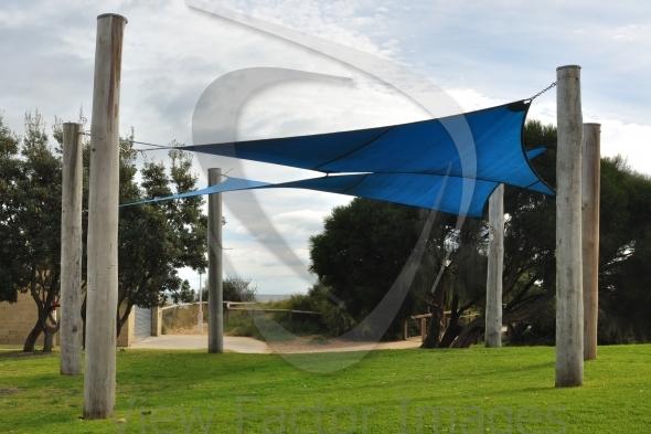 Shade sails on playground