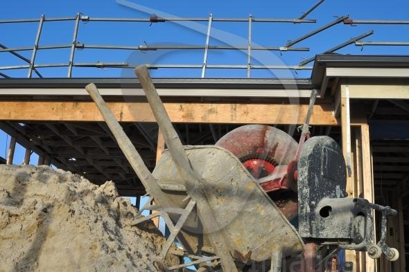 Concrete mixer and wheelbarrow