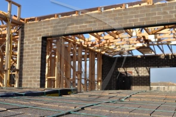 Brick pallet at construction