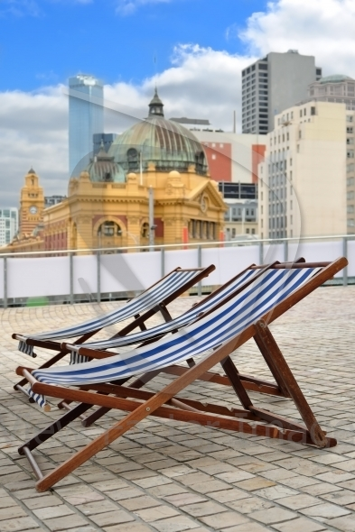 Deck-chair in city